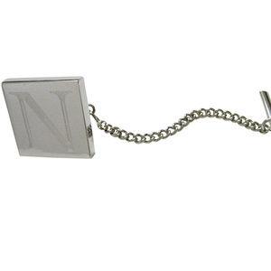Letter N Etched Monogram Pendant Tie Tack
